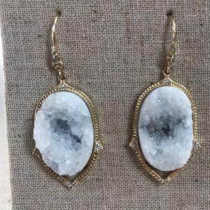 Jewelry - Blue gemstone druzy earrings - blue gold